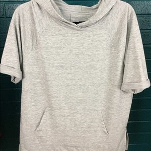 Sonoma Hooded Short Sleeve Casual Grey Top Size M